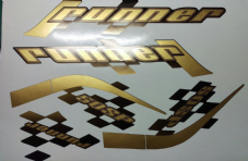 Gilera Runner 50/125 sp new shape sticker set, black soul, Gold/black Printed Decals